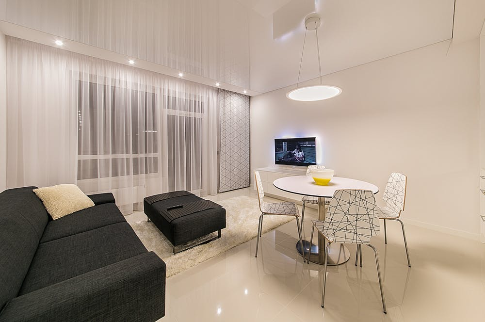 Living room with curtains and blinds in Sydney